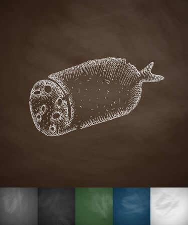 salami: salami icon. Hand drawn vector illustration. Chalkboard Design Illustration