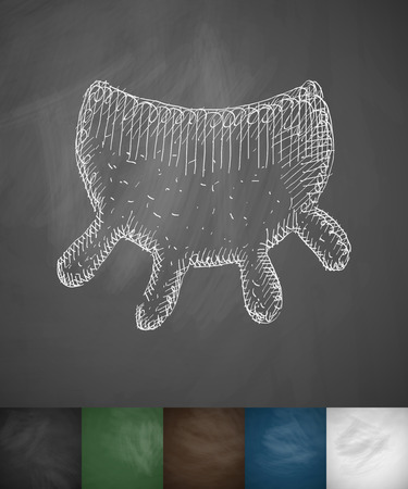 udder icon. Hand drawn vector illustration. Chalkboard Design