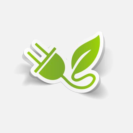ecological adaptation: realistic design element: eco plug leaf Illustration