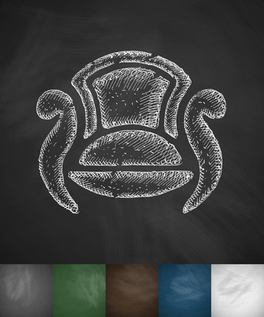 leather goods: chair icon. Hand drawn vector illustration. Chalkboard Design Illustration