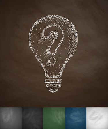 light bulb with a question mark icon. Hand drawn vector illustration. Chalkboard Design