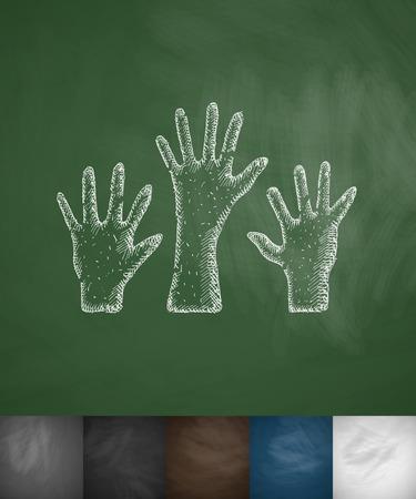 incarnation: three palm icon. Hand drawn vector illustration. Chalkboard Design