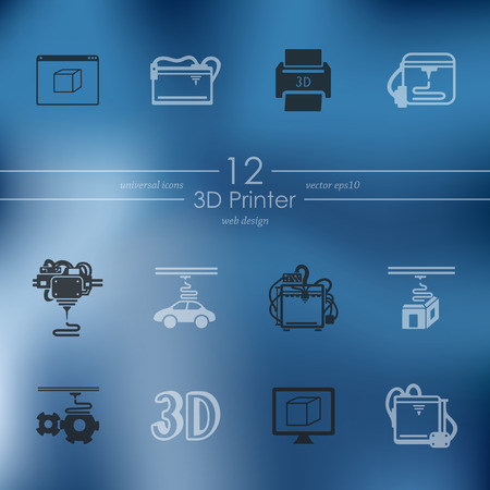 blasting: three d printer modern icons for mobile interface on blurred background Illustration
