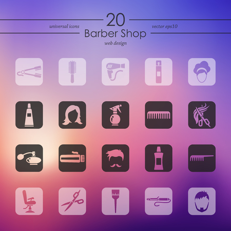 barber shop modern icons for mobile interface on blurred background Vector