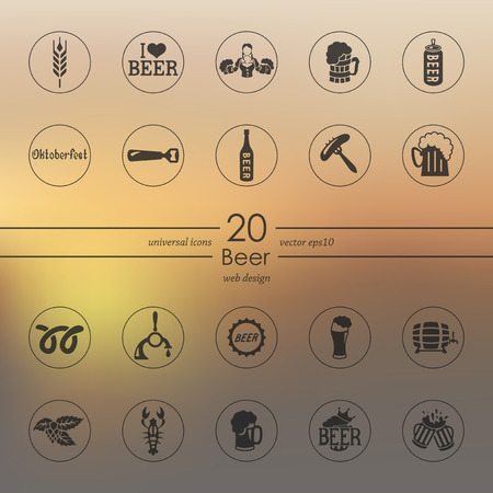 beer modern icons for mobile interface on blurred background Vector