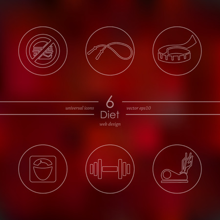 temperance: diet modern icons for mobile interface on blurred background