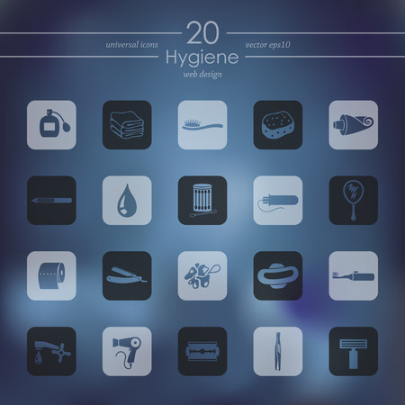 epidemiology: hygiene modern icons for mobile interface on blurred background