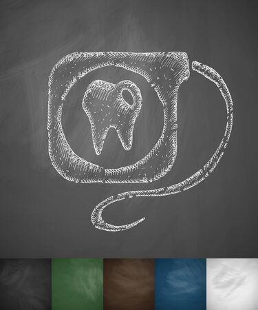 dental floss: dental floss icon. Hand drawn vector illustration. Chalkboard Design