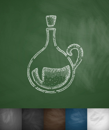 decanter: decanter icon. Hand drawn vector illustration. Chalkboard Design
