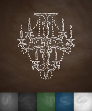chandelier icon. Hand drawn vector illustration. Chalkboard Design Illustration