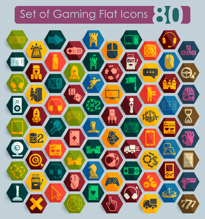 Set of gaming flat icons for Web and Mobile Applications Vector