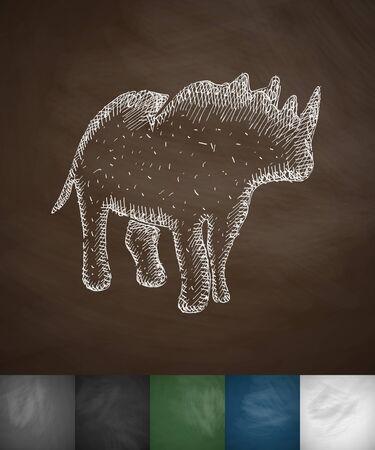 viviparous: rhino icon. Hand drawn vector illustration. Chalkboard Design
