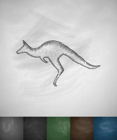 viviparous: kangaroo icon. Hand drawn vector illustration. Chalkboard Design Illustration