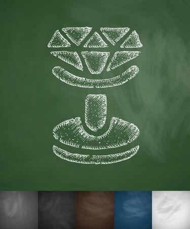 cufflink icon. Hand drawn vector illustration. Chalkboard Design Illustration