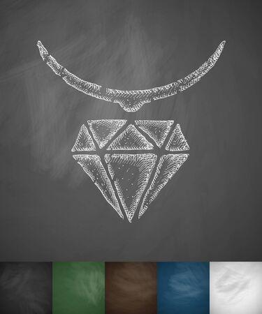 pendant: pendant icon. Hand drawn vector illustration. Chalkboard Design