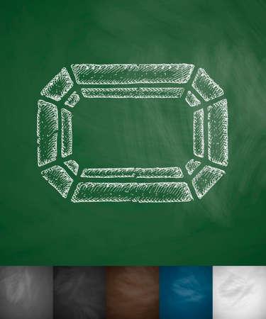 gem: gem icon. Hand drawn vector illustration. Chalkboard Design