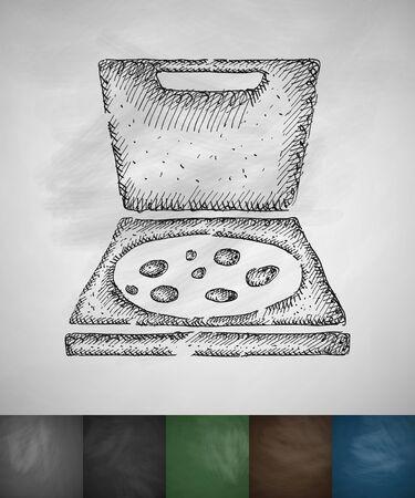 pizza icon. Hand drawn vector illustration. Chalkboard Design