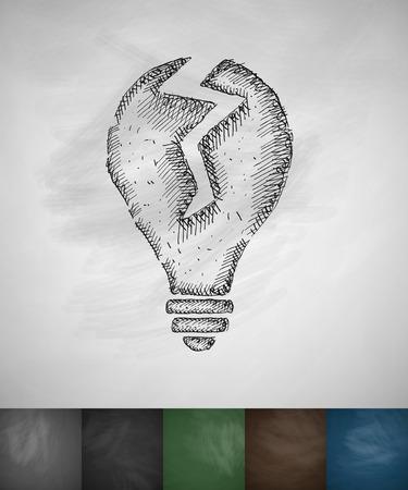 incarnation: broken light bulb icon. Hand drawn vector illustration. Chalkboard Design