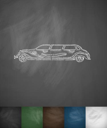 limousine: Limousine icon. Hand drawn  illustration. Chalkboard Design