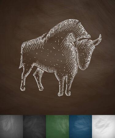 viviparous: Aurochs icon. Hand drawn illustration. Chalkboard Design Illustration