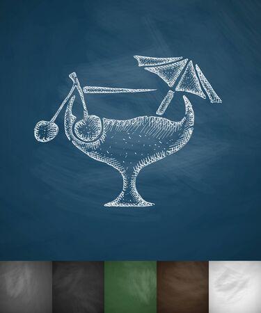 spirituous beverages: cocktail icon. Hand drawn vector illustration. Chalkboard Design