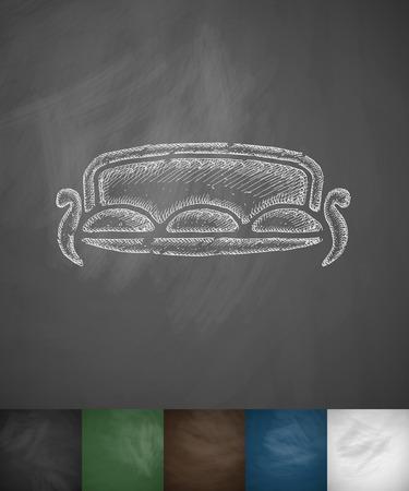 lie down: sofa icon. Hand drawn vector illustration. Chalkboard Design Illustration