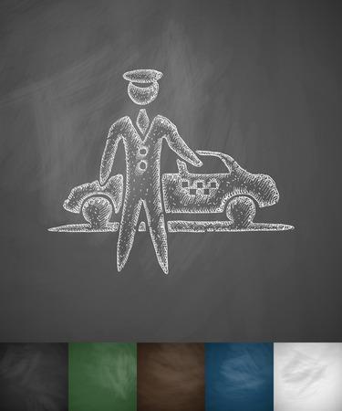 taxista: el icono de aparcamiento. Dibujado a mano ilustración vectorial. Pizarra Diseño
