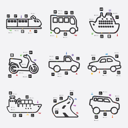 transport line infographic illustration. Fully editable vector file Vector