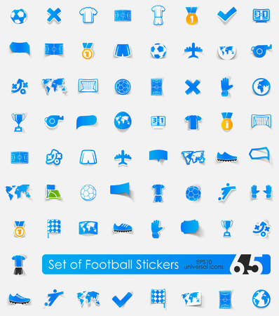 offside: football vector sticker icons with shadow. Paper cut