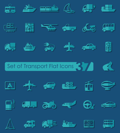 Set of transport flat icons for Web and Mobile Applications Vector