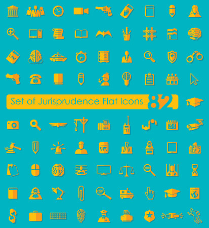 Set of jurisprudence flat icons for Web and Mobile Applications Vector