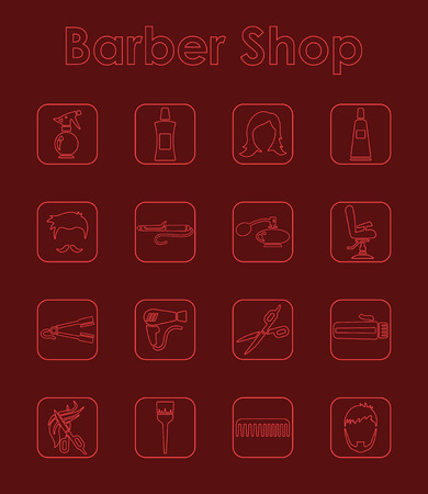 It is a set of barber shop simple web icons Vector