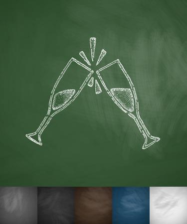 sourness: two glasses icon. Hand drawn vector illustration. Chalkboard Design Illustration