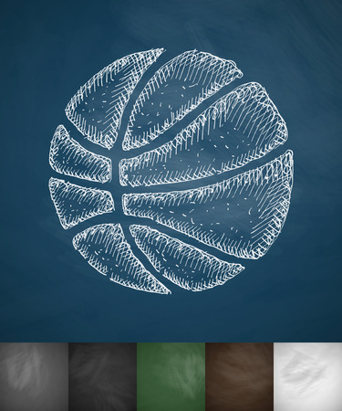 hoop: basketball icon. Hand drawn vector illustration. Chalkboard Design