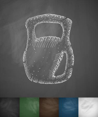 ton: Ağırlık simgesi. El vector illustration çizilmiş. Kara Tahta Tasarım