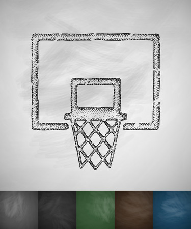 basketball hoop: basketball hoop icon. Hand drawn vector illustration. Chalkboard Design