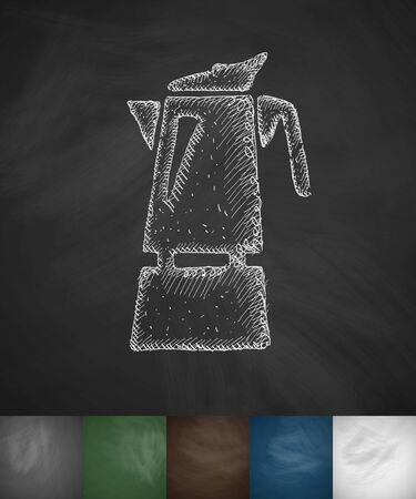 coffee pot: coffee pot icon. Hand drawn vector illustration. Chalkboard Design Illustration