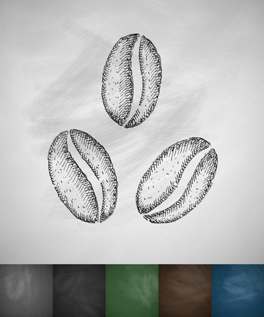 soluble: three coffee beans icon. Hand drawn vector illustration. Chalkboard Design Illustration