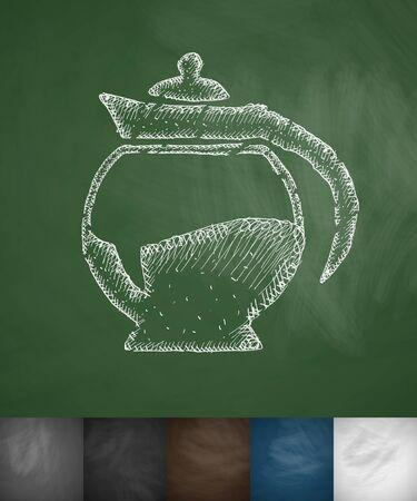 soluble: coffee pot icon. Hand drawn vector illustration. Chalkboard Design Illustration