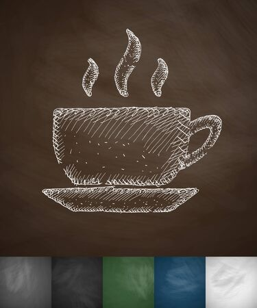 flavored: cup of coffee icon. Hand drawn vector illustration. Chalkboard Design