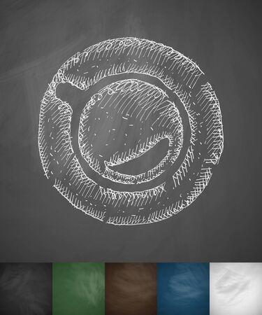 joyfulness: cup of coffee icon. Hand drawn vector illustration. Chalkboard Design
