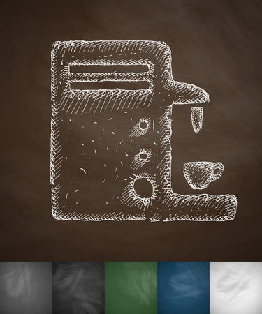 soluble: coffee machine icon. Hand drawn vector illustration. Chalkboard Design