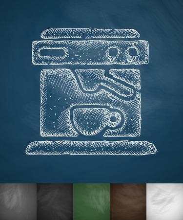 cheerfulness: coffee machine icon. Hand drawn vector illustration. Chalkboard Design
