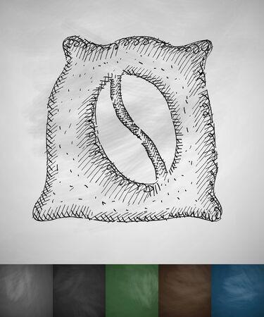 cheerfulness: bag of coffee icon. Hand drawn vector illustration. Chalkboard Design Illustration