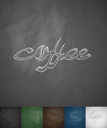 flavored: COFFEE icon. Hand drawn vector illustration. Chalkboard Design
