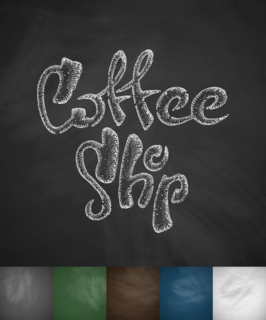 soluble: coffee shop icon. Hand drawn vector illustration. Chalkboard Design Illustration