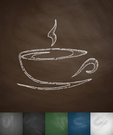 cup of coffee icon. Hand drawn vector illustration. Chalkboard Design