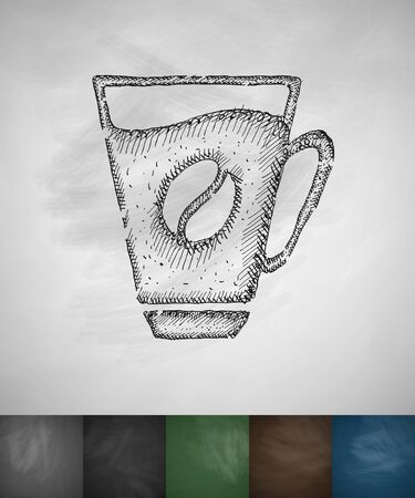 soluble: cup of coffee icon. Hand drawn vector illustration. Chalkboard Design