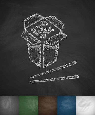 japanese food: japanese food icon. Hand drawn vector illustration. Chalkboard Design
