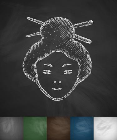 japanese woman: japanese woman icon. Hand drawn vector illustration. Chalkboard Design Illustration